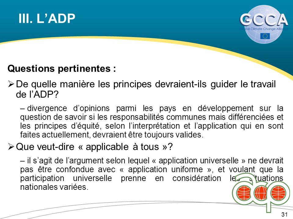 III. LADP Questions pertinentes : De quelle manière les principes devraient-ils guider le travail de lADP? – divergence dopinions parmi les pays en dé