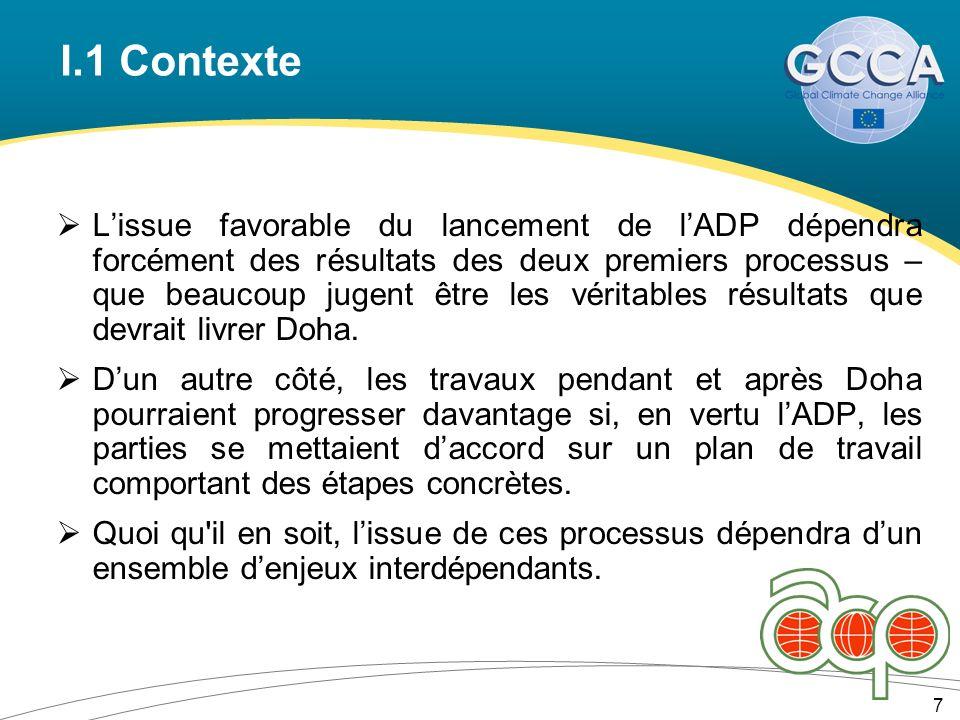 I.1 Contexte Lissue favorable du lancement de lADP dépendra forcément des résultats des deux premiers processus – que beaucoup jugent être les véritables résultats que devrait livrer Doha.