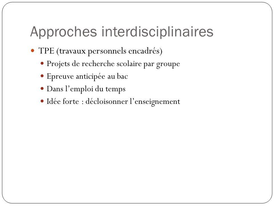 Approches interdisciplinaires TPE (travaux personnels encadrés) Projets de recherche scolaire par groupe Epreuve anticipée au bac Dans lemploi du temps Idée forte : décloisonner lenseignement