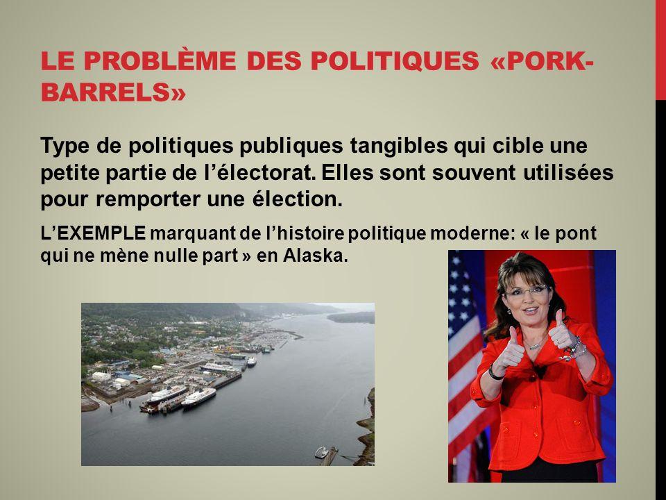 LE PROBLÈME DES POLITIQUES «PORK- BARRELS» Type de politiques publiques tangibles qui cible une petite partie de lélectorat. Elles sont souvent utilis