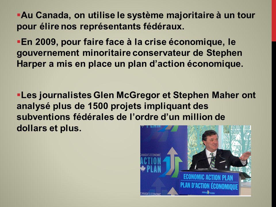 Au Canada, on utilise le système majoritaire à un tour pour élire nos représentants fédéraux. En 2009, pour faire face à la crise économique, le gouve