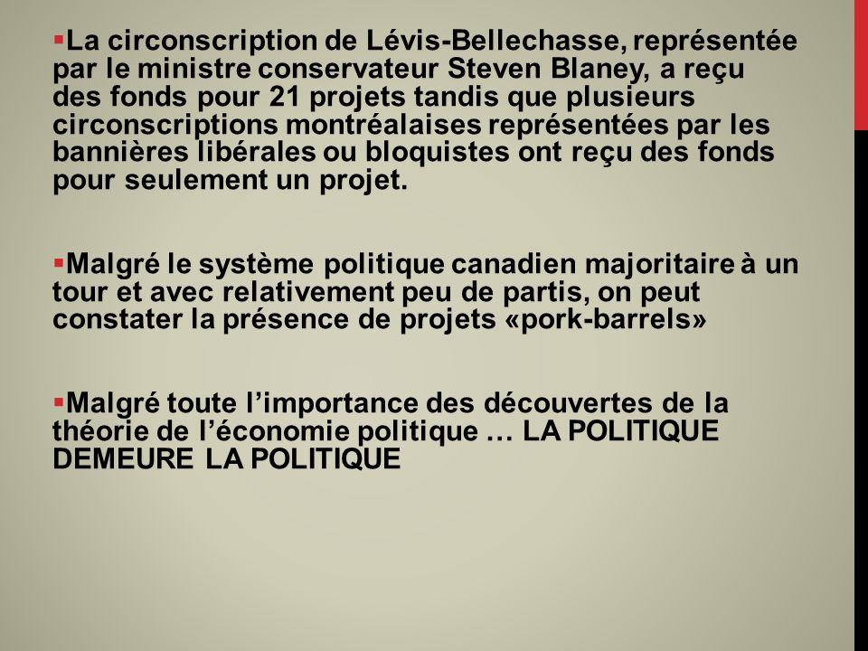 La circonscription de Lévis-Bellechasse, représentée par le ministre conservateur Steven Blaney, a reçu des fonds pour 21 projets tandis que plusieurs circonscriptions montréalaises représentées par les bannières libérales ou bloquistes ont reçu des fonds pour seulement un projet.