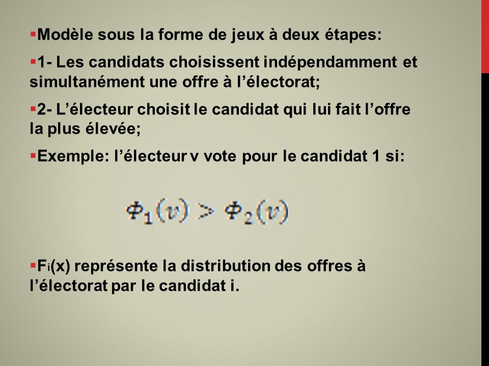 Modèle sous la forme de jeux à deux étapes: 1- Les candidats choisissent indépendamment et simultanément une offre à lélectorat; 2- Lélecteur choisit le candidat qui lui fait loffre la plus élevée; Exemple: lélecteur v vote pour le candidat 1 si: F i (x) représente la distribution des offres à lélectorat par le candidat i.