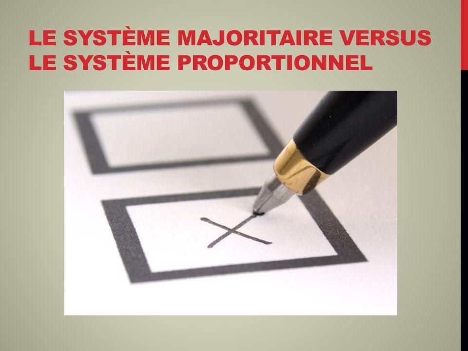 LE SYSTÈME MAJORITAIRE VERSUS LE SYSTÈME PROPORTIONNEL