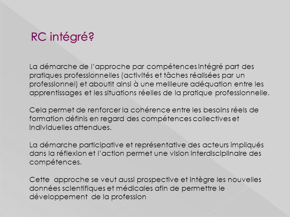 La démarche de lapproche par compétences intégré part des pratiques professionnelles (activités et tâches réalisées par un professionnel) et aboutit ainsi à une meilleure adéquation entre les apprentissages et les situations réelles de la pratique professionnelle.