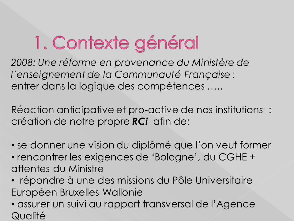 2008: Une réforme en provenance du Ministère de lenseignement de la Communauté Française : entrer dans la logique des compétences …..