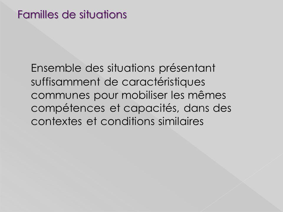 Familles de situations Ensemble des situations présentant suffisamment de caractéristiques communes pour mobiliser les mêmes compétences et capacités, dans des contextes et conditions similaires