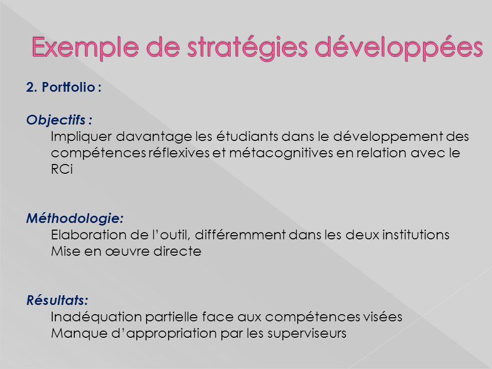 2. Portfolio : Objectifs : Impliquer davantage les étudiants dans le développement des compétences réflexives et métacognitives en relation avec le RC