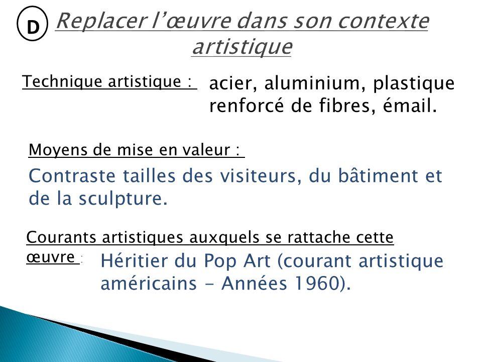 D Technique artistique : acier, aluminium, plastique renforcé de fibres, émail.