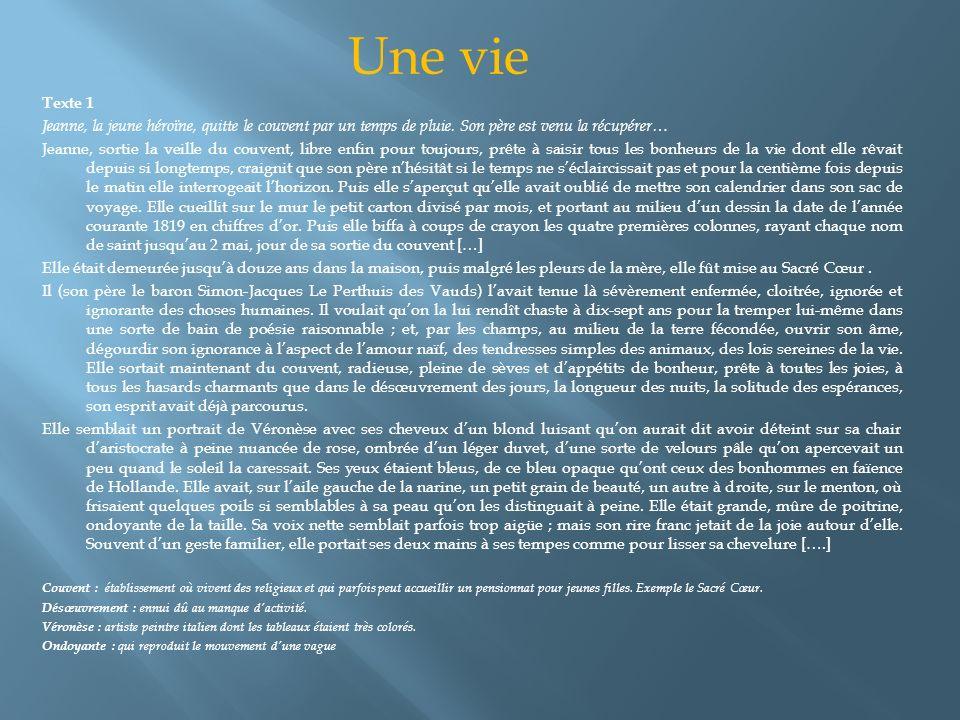 Texte 1 Jeanne, la jeune héroïne, quitte le couvent par un temps de pluie. Son père est venu la récupérer… Jeanne, sortie la veille du couvent, libre