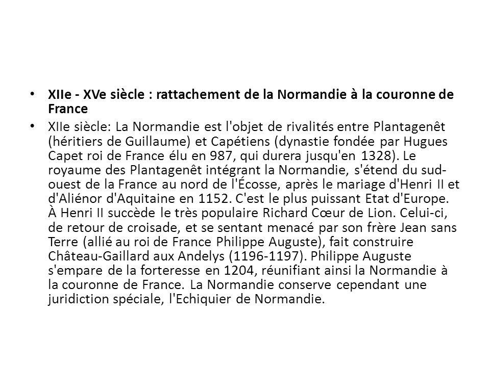 XIIe - XVe siècle : rattachement de la Normandie à la couronne de France XIIe siècle: La Normandie est l'objet de rivalités entre Plantagenêt (héritie