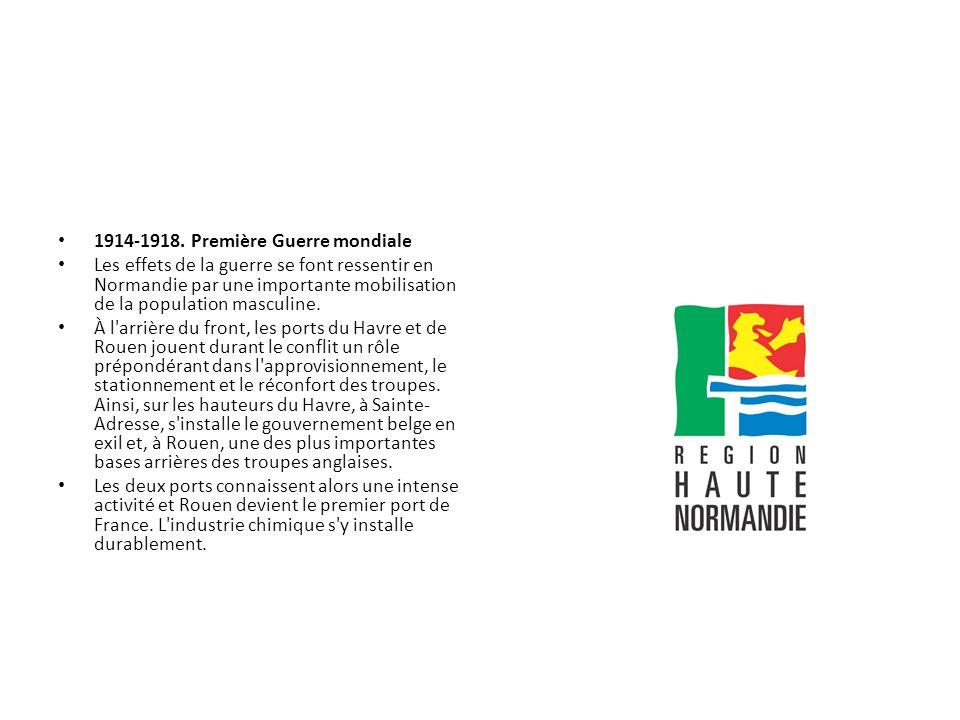 1914-1918. Première Guerre mondiale Les effets de la guerre se font ressentir en Normandie par une importante mobilisation de la population masculine.