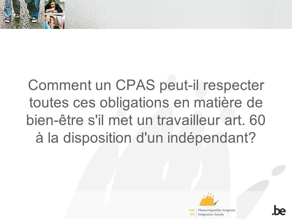 Comment un CPAS peut-il respecter toutes ces obligations en matière de bien-être s il met un travailleur art.
