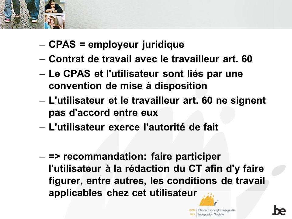 –CPAS = employeur juridique –Contrat de travail avec le travailleur art.