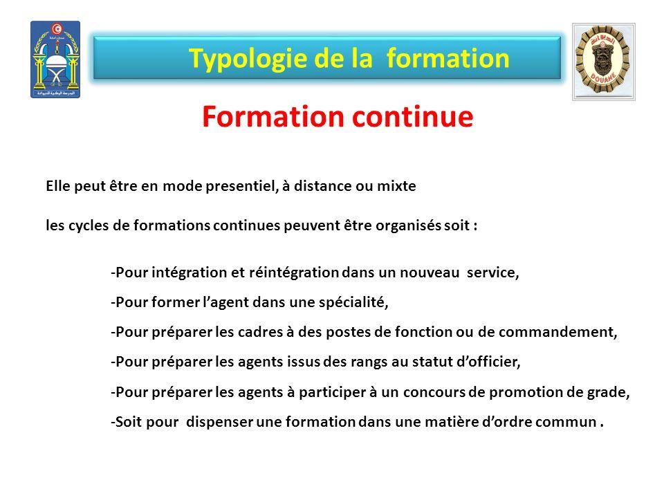 Typologie de la formation Formation continue Elle peut être en mode presentiel, à distance ou mixte les cycles de formations continues peuvent être or