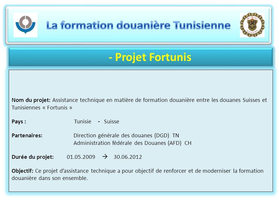 - Projet Fortunis Nom du projet: Assistance technique en matière de formation douanière entre les douanes Suisses et Tunisiennes « Fortunis » Pays : T