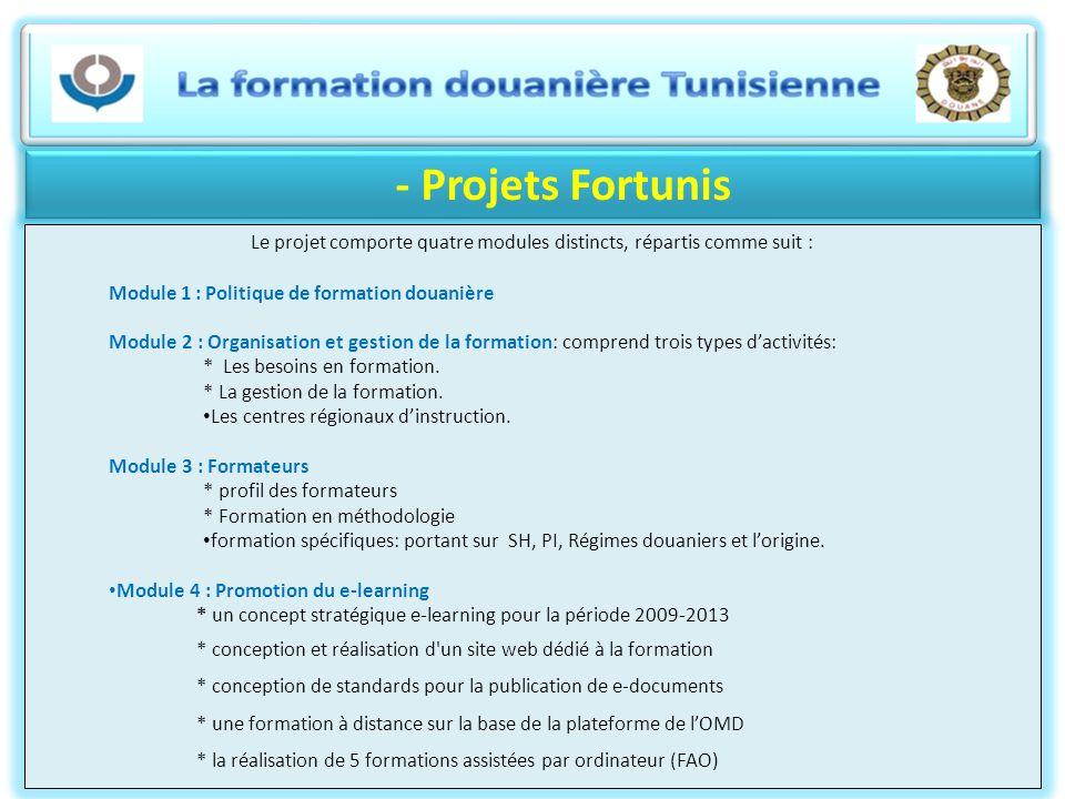 - Projets Fortunis Le projet comporte quatre modules distincts, répartis comme suit : Module 1 : Politique de formation douanière Module 2 : Organisat