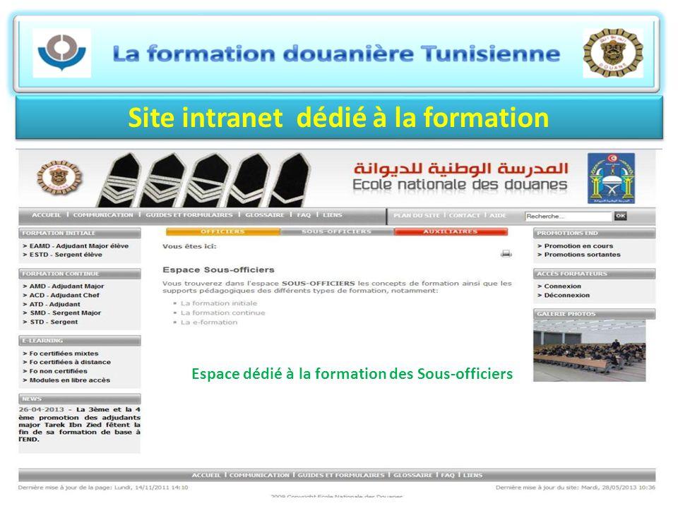 Site intranet dédié à la formation Espace dédié à la formation des Sous-officiers