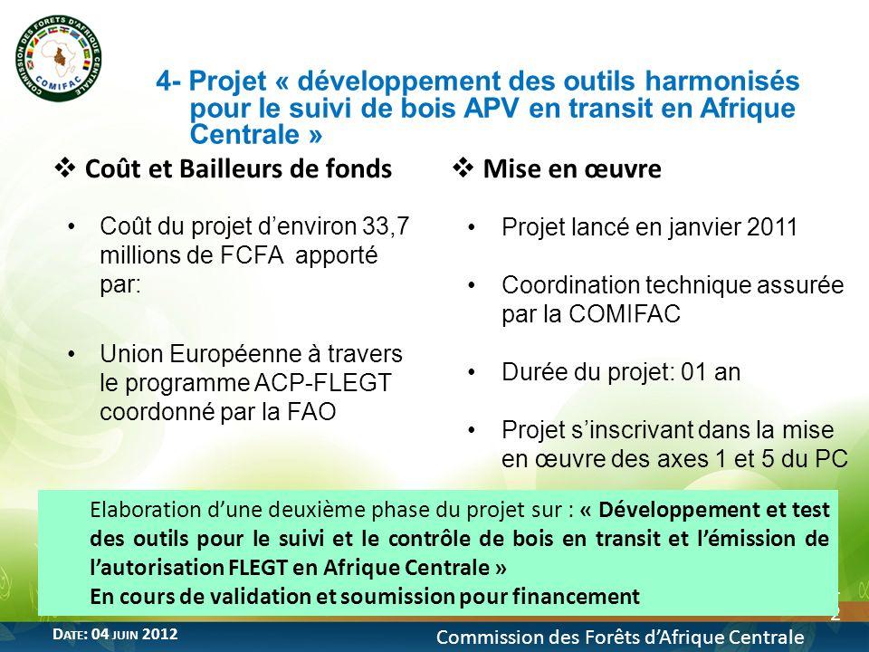 12 Commission des Forêts dAfrique Centrale D ATE : 04 JUIN 2012 Coût et Bailleurs de fonds Coût du projet denviron 33,7 millions de FCFA apporté par: