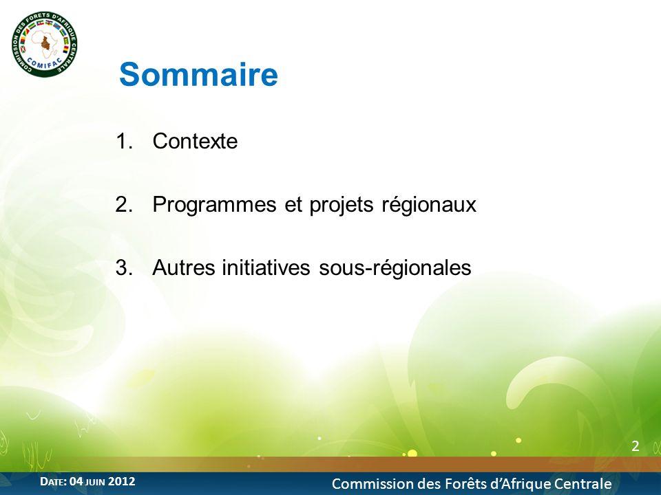 Sommaire 1.Contexte 2.Programmes et projets régionaux 3.Autres initiatives sous-régionales 2 Commission des Forêts dAfrique Centrale D ATE : 04 JUIN 2