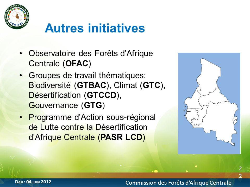 Observatoire des Forêts dAfrique Centrale (OFAC) Groupes de travail thématiques: Biodiversité (GTBAC), Climat (GTC), Désertification (GTCCD), Gouverna