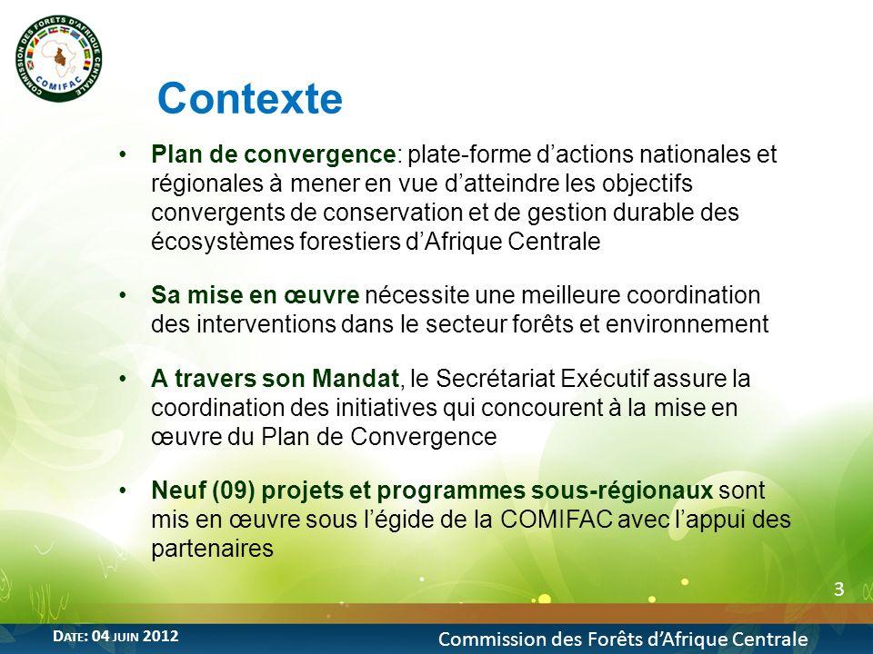 14 Commission des Forêts dAfrique Centrale D ATE : 04 JUIN 2012 Coût et Bailleurs de fonds Coût du projet denviron 6,5 milliards de FCFA apporté par: La Coopération financière allemande (KfW) Mise en œuvre Coordination technique assurée par la COMIFAC Responsable de mise en œuvre du projet : Groupement GFA- DFS Durée du projet: 04 ans Prévu: lancement du projet en septembre 2012 5- Programme « Promotion de lexploitation certifiée des forêts en Afrique Centrale »