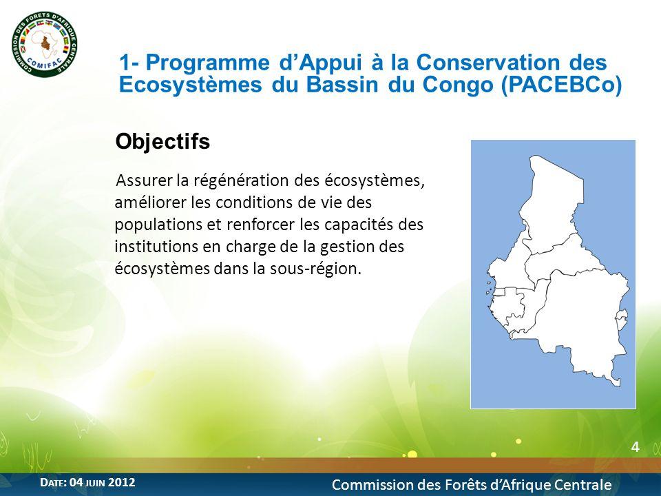 5 1- Programme dAppui à la Conservation des Ecosystèmes du Bassin du Congo (PACEBCo) Commission des Forêts dAfrique Centrale D ATE : 04 JUIN 2012 Coût et Bailleurs de fonds Programme cofinancé à hauteur denviron 28,53 milliards de FCFA par: CEEAC, donataire du programme, BAD, bailleur de fonds à travers les ressources du FAD Mise en œuvre Date de lancement: 2009 Coordination technique assurée par la COMIFAC Supervision générale assurée par la CEEAC Mission revue mi parcours du programme effectuée en mars 2012 par la BAD Durée du projet: 5 ans