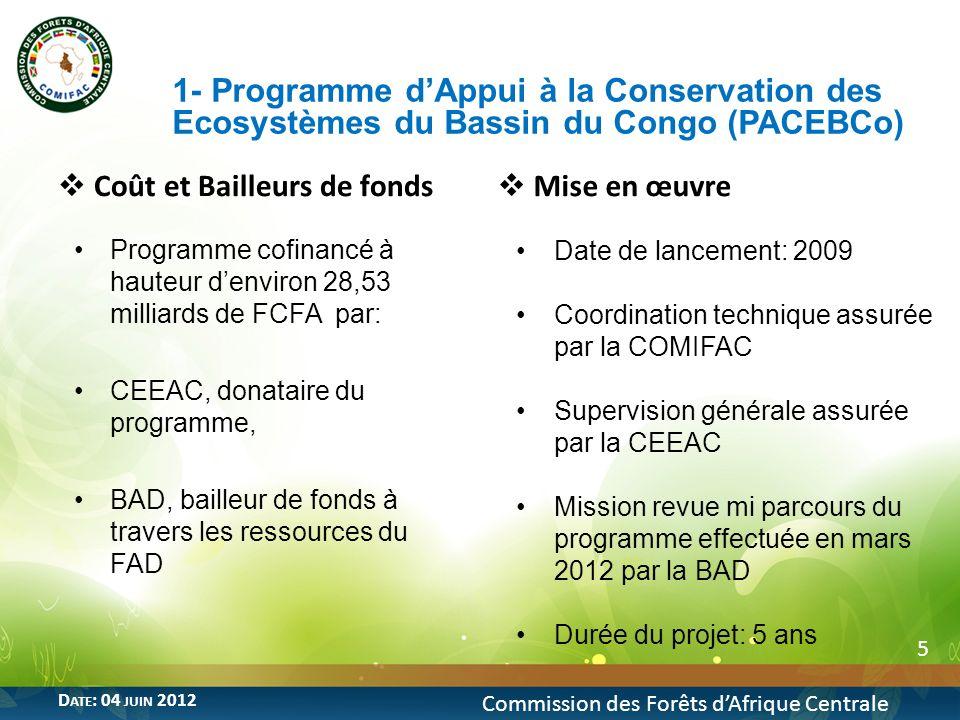 5 1- Programme dAppui à la Conservation des Ecosystèmes du Bassin du Congo (PACEBCo) Commission des Forêts dAfrique Centrale D ATE : 04 JUIN 2012 Coût