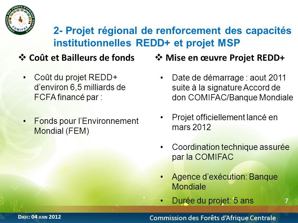 7 Commission des Forêts dAfrique Centrale D ATE : 04 JUIN 2012 Coût et Bailleurs de fonds Coût du projet REDD+ denviron 6,5 milliards de FCFA financé