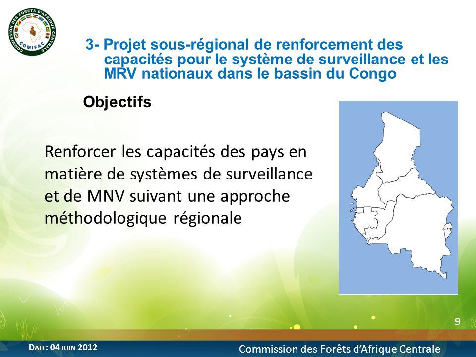 Objectif 20 Commission des Forêts dAfrique Centrale D ATE : 04 JUIN 2012 Promouvoir une approche régionale harmonisée à la gestion durable des forêts de production dans le Bassin du Congo en vue de réduire les impacts de lexploitation forestière sur les forêts et les écosystèmes 8- Projet « Approche sous-régionale harmonisée de gestion durable des forêts de production du bassin du Congo