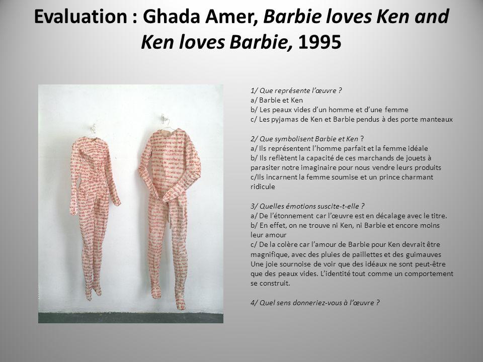 Evaluation : Ghada Amer, Barbie loves Ken and Ken loves Barbie, 1995 1/ Que représente lœuvre .