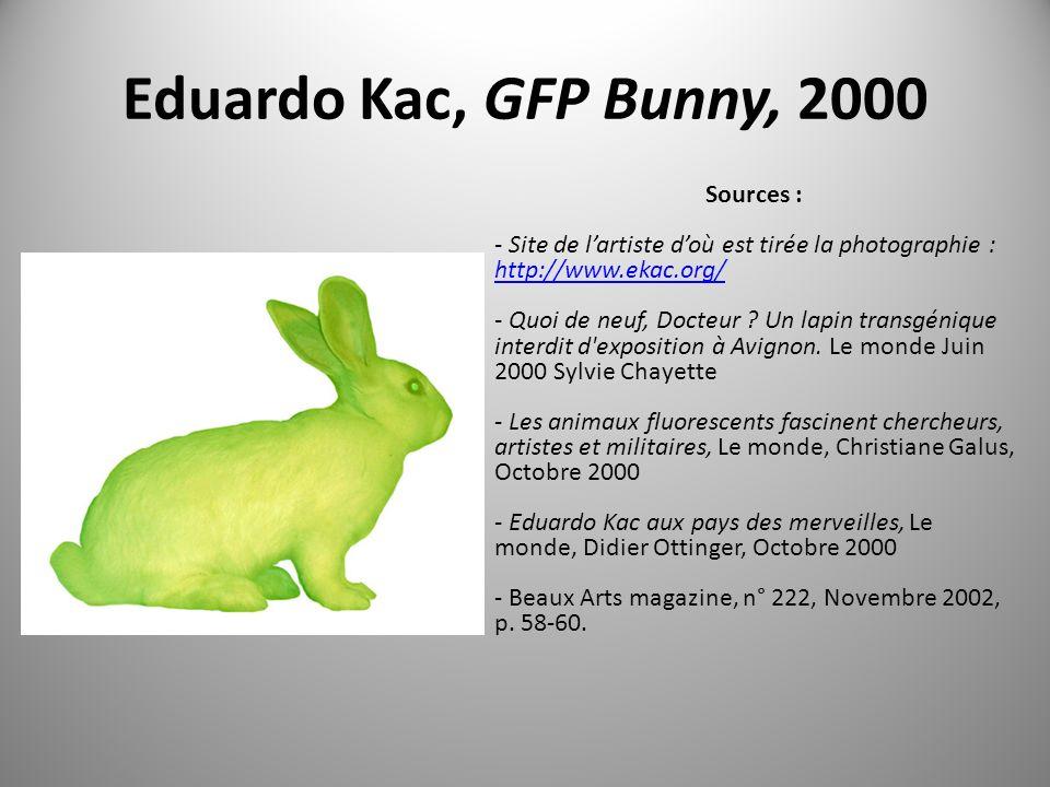 Eduardo Kac, GFP Bunny, 2000 Sources : - Site de lartiste doù est tirée la photographie : http://www.ekac.org/ - Quoi de neuf, Docteur .