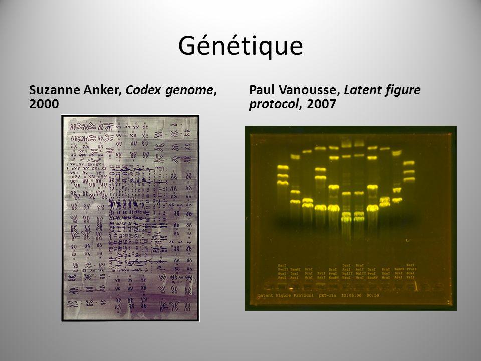 Génétique Suzanne Anker, Codex genome, 2000 Paul Vanousse, Latent figure protocol, 2007