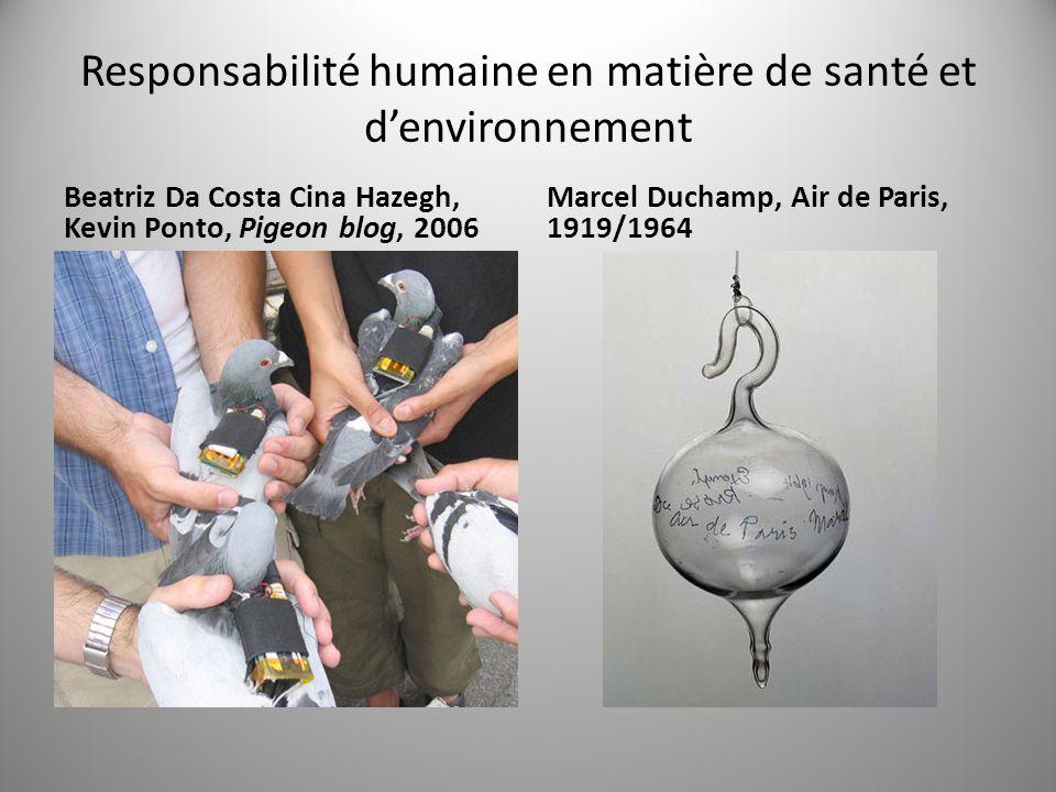 Responsabilité humaine en matière de santé et denvironnement Beatriz Da Costa Cina Hazegh, Kevin Ponto, Pigeon blog, 2006 Marcel Duchamp, Air de Paris, 1919/1964