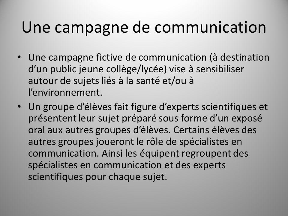 Une campagne de communication Une campagne fictive de communication (à destination dun public jeune collège/lycée) vise à sensibiliser autour de sujets liés à la santé et/ou à lenvironnement.