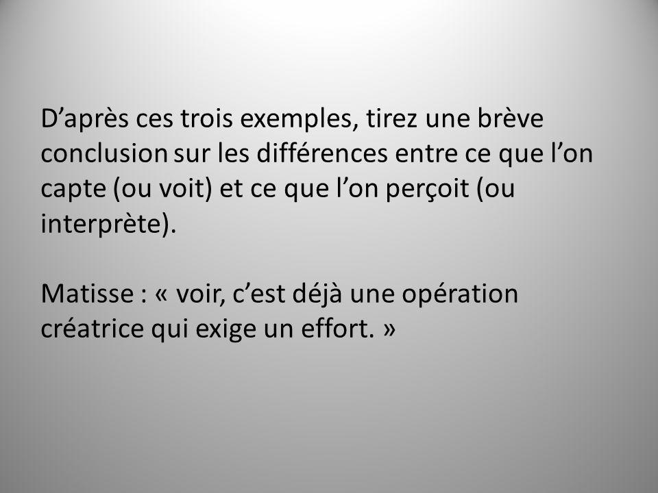 Daprès ces trois exemples, tirez une brève conclusion sur les différences entre ce que lon capte (ou voit) et ce que lon perçoit (ou interprète).