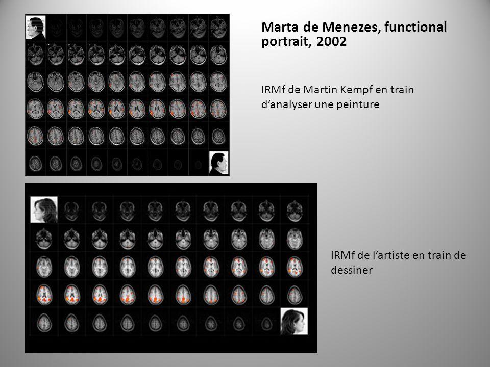 Marta de Menezes, functional portrait, 2002 IRMf de Martin Kempf en train danalyser une peinture IRMf de lartiste en train de dessiner