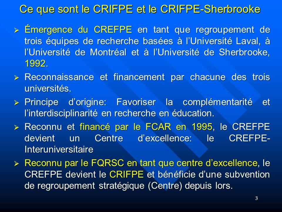 Ce que sont le CRIFPE et le CRIFPE-Sherbrooke Émergence du CREFPE en tant que regroupement de trois équipes de recherche basées à lUniversité Laval, à lUniversité de Montréal et à lUniversité de Sherbrooke, 1992.