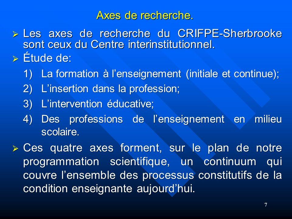 Les axes de recherche du CRIFPE-Sherbrooke sont ceux du Centre interinstitutionnel.