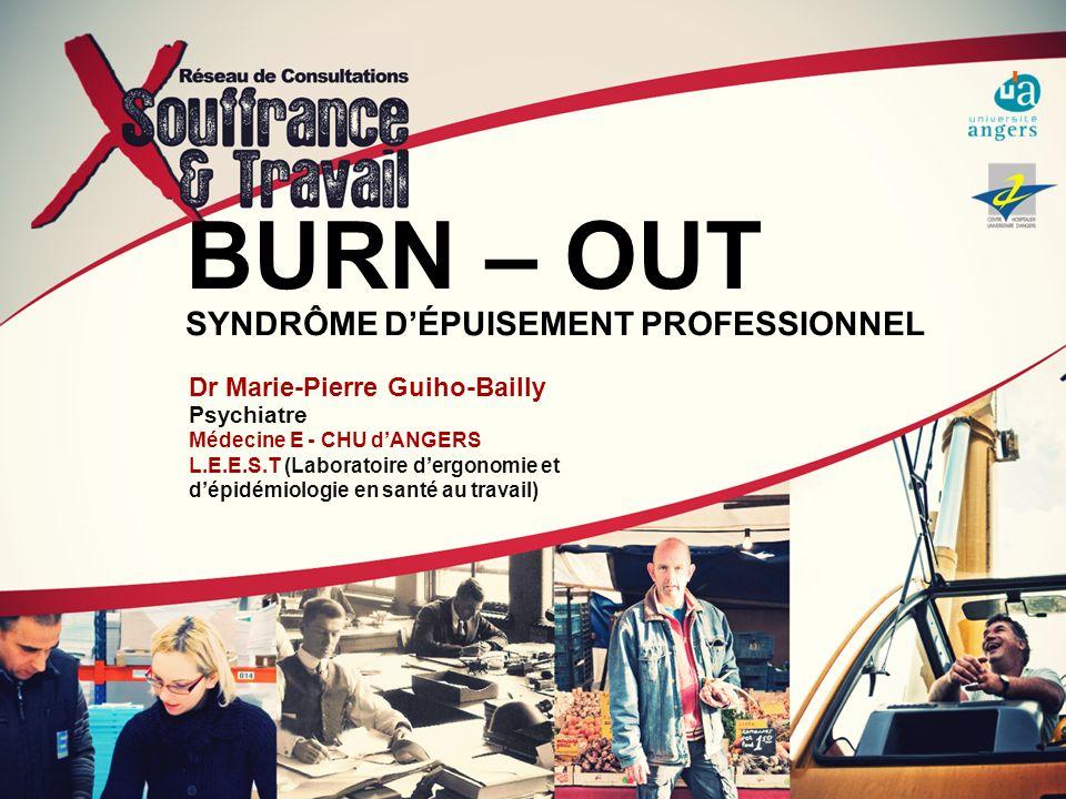 BURN – OUT SYNDRÔME DÉPUISEMENT PROFESSIONNEL Dr Marie-Pierre Guiho-Bailly Psychiatre Médecine E - CHU dANGERS L.E.E.S.T (Laboratoire dergonomie et dé