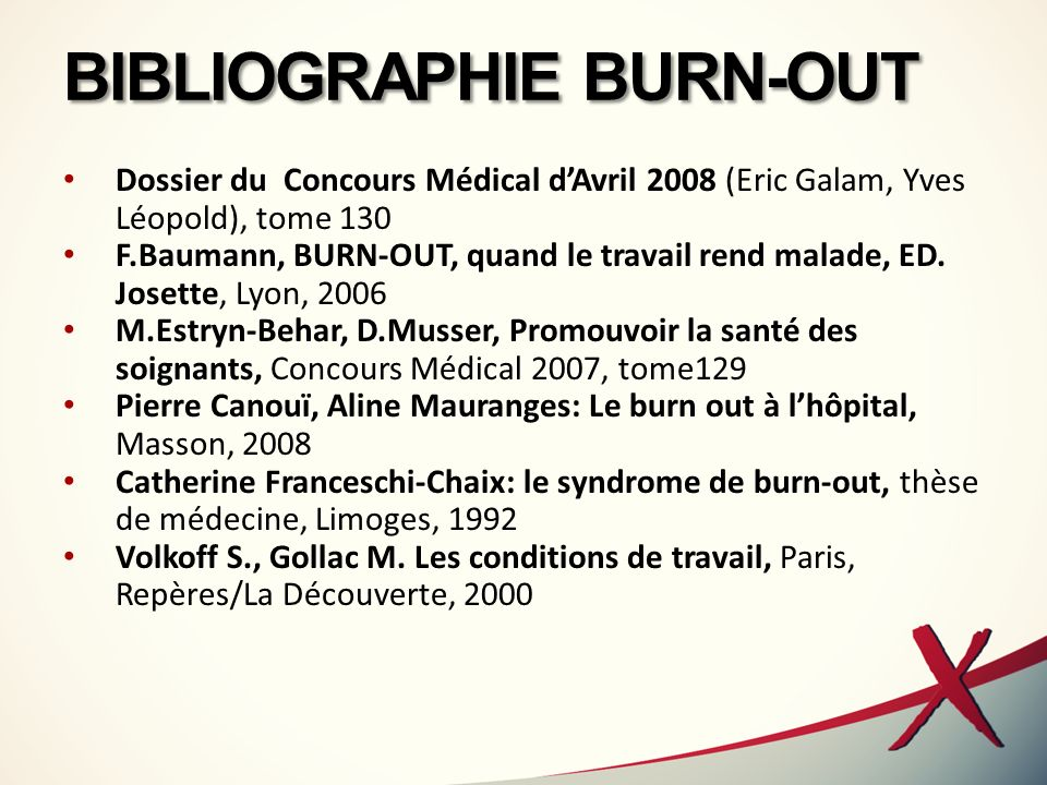 BIBLIOGRAPHIE BURN-OUT Dossier du Concours Médical dAvril 2008 (Eric Galam, Yves Léopold), tome 130 F.Baumann, BURN-OUT, quand le travail rend malade,