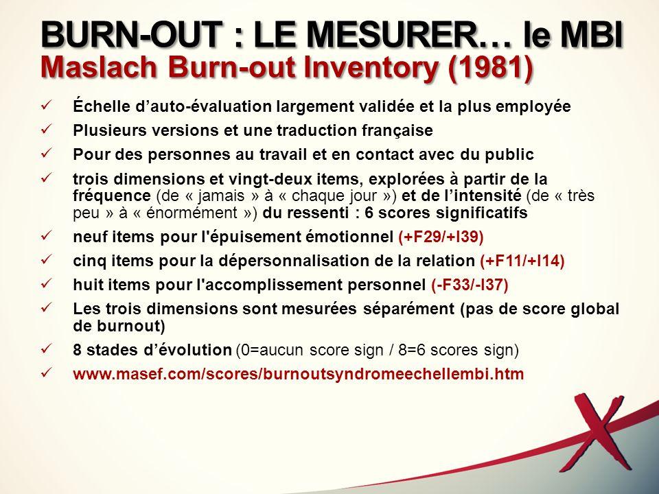 BURN-OUT : LE MESURER… le MBI Maslach Burn-out Inventory (1981) Échelle dauto-évaluation largement validée et la plus employée Plusieurs versions et u