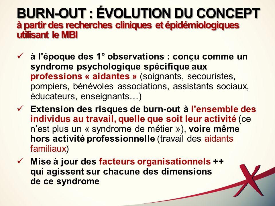 BURN-OUT : ÉVOLUTION DU CONCEPT à partir des recherches cliniques et épidémiologiques utilisant le MBI à l'époque des 1° observations : conçu comme un