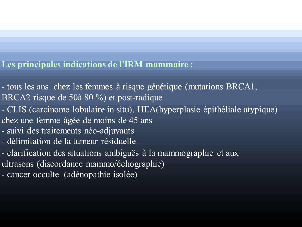 Les principales indications de l'IRM mammaire : - tous les ans chez les femmes à risque génétique (mutations BRCA1, BRCA2 risque de 50à 80 %) et post-