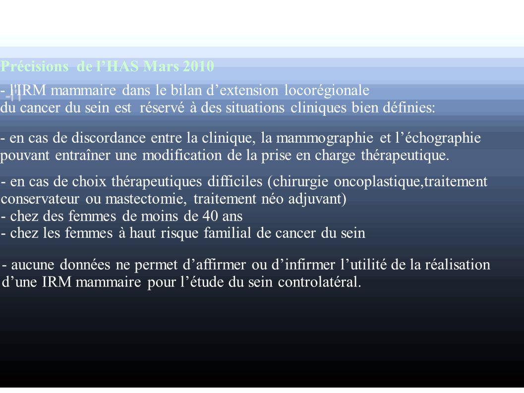Précisions de lHAS Mars 2010 - l'IRM mammaire dans le bilan dextension locorégionale du cancer du sein est réservé à des situations cliniques bien déf