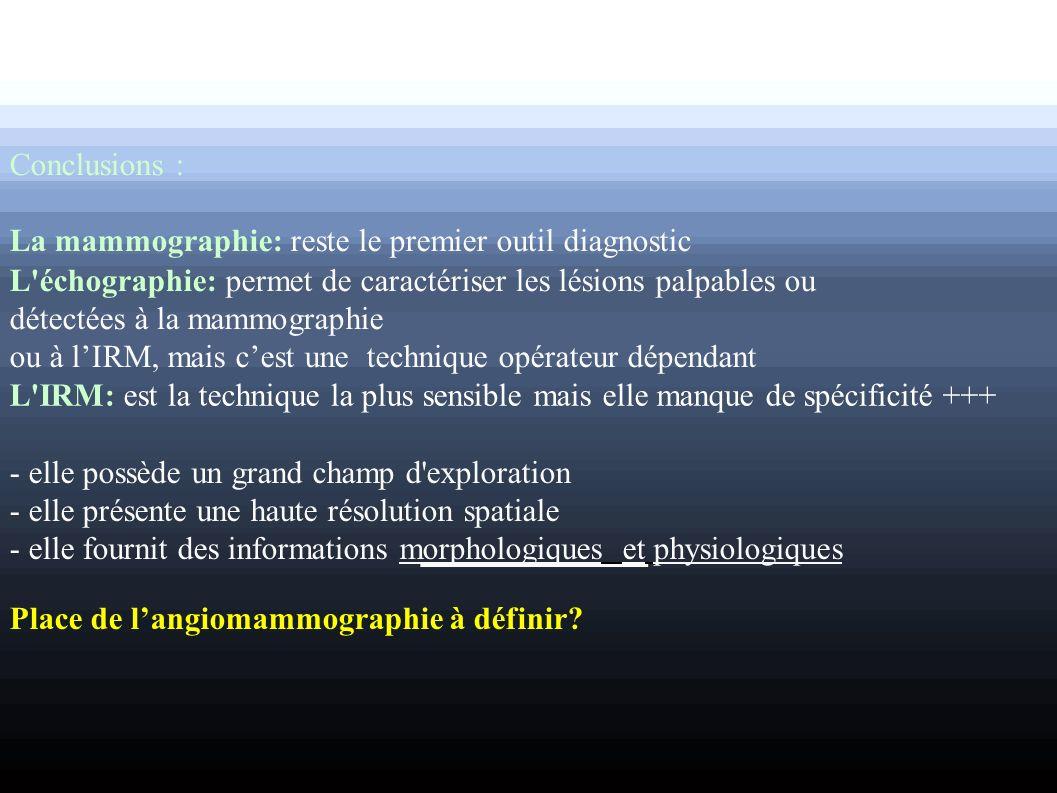 Conclusions : La mammographie: reste le premier outil diagnostic L'échographie: permet de caractériser les lésions palpables ou détectées à la mammogr