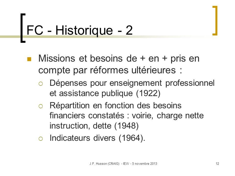 FC - Historique - 2 Missions et besoins de + en + pris en compte par réformes ultérieures : Dépenses pour enseignement professionnel et assistance pub