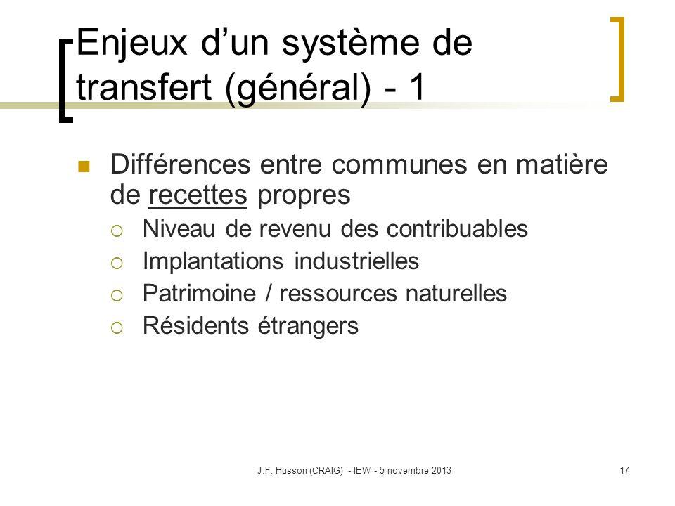 Enjeux dun système de transfert (général) - 1 Différences entre communes en matière de recettes propres Niveau de revenu des contribuables Implantatio