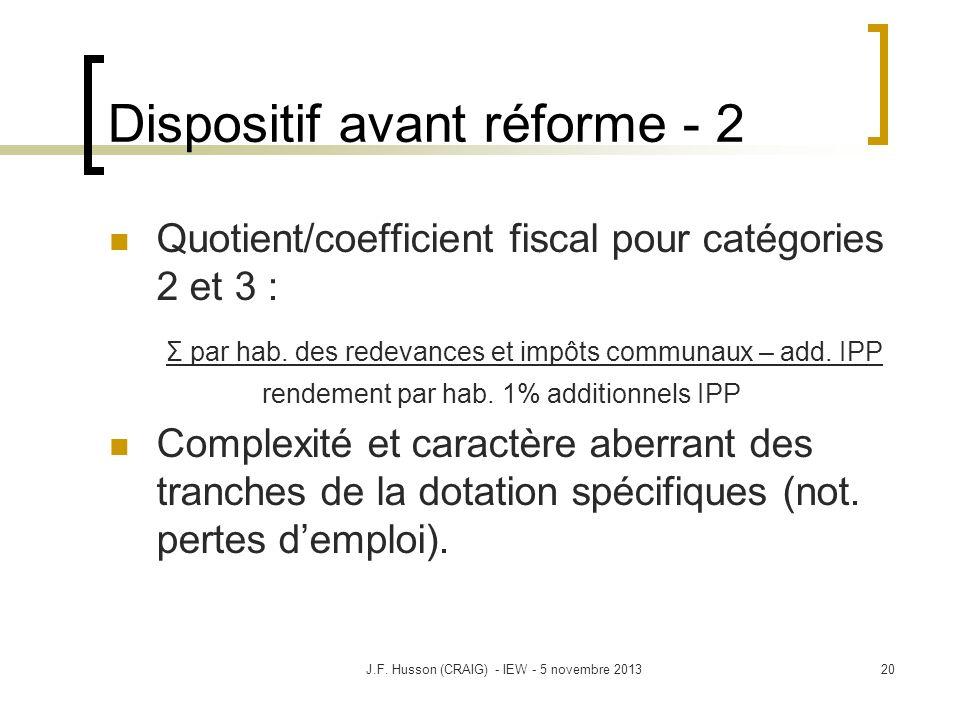 Dispositif avant réforme - 2 Quotient/coefficient fiscal pour catégories 2 et 3 : Σ par hab. des redevances et impôts communaux – add. IPP rendement p