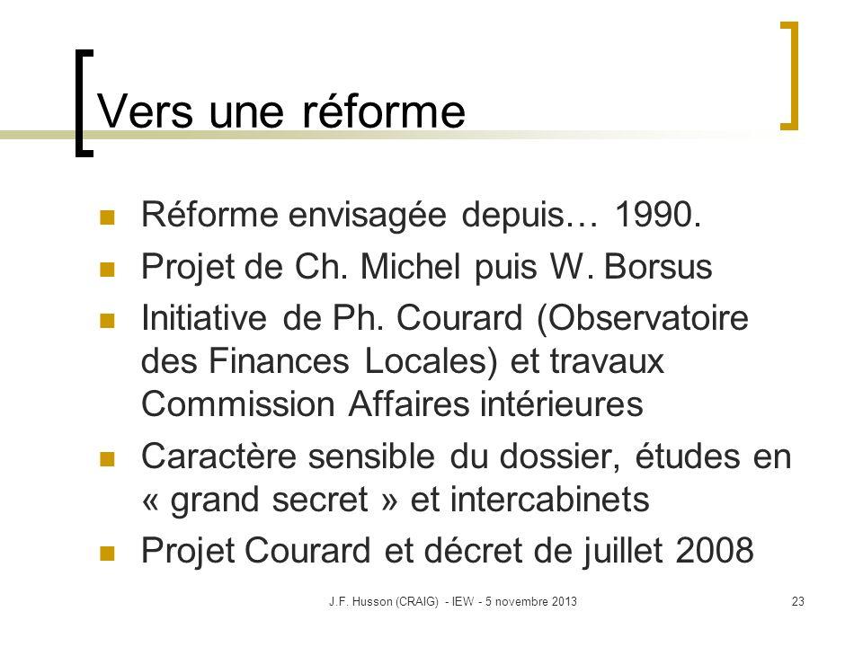 Vers une réforme Réforme envisagée depuis… 1990. Projet de Ch. Michel puis W. Borsus Initiative de Ph. Courard (Observatoire des Finances Locales) et